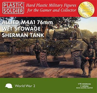 Plastic Soldier 1/72 WWII Allied M4A1 76mm Wet Stowage Sherman Tank (3) Kit