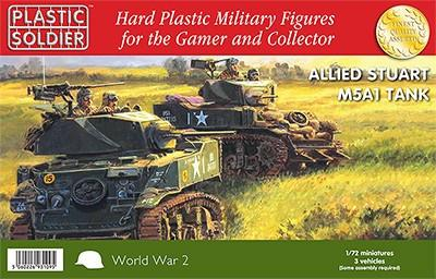 Plastic Soldier 1/72 WWII Allied Stuart M5A1 Tank (3) Kit