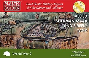 Plastic Soldier 1/72 WWII Allied M4A4 Sherman/ Firefly Tank (3) Kit