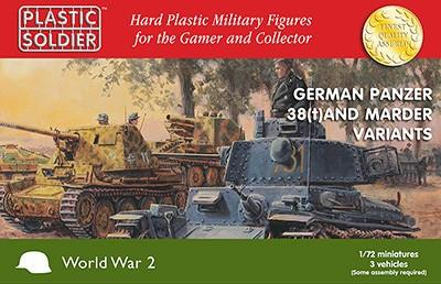 Plastic Soldier 1/72 WWII German Panzer 38(t) Tank/Marder Variants (3) & Crew (30) Kit