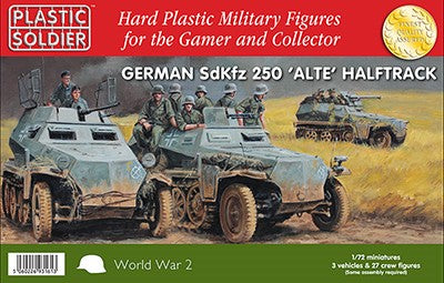 Plastic Soldier 1/72 WWII German SdKfz 250 Alte Halftrack (3) & Crew (27) Kit