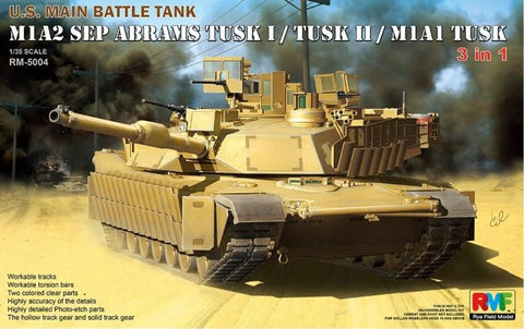 Rye Field Models 1/35 M1A2 SEP Abrams Tusk I/II/M1A1 US Main Battle Tank (3 in 1) Kit