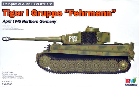 Rye Field Models 1/35 Tiger I Gruppe Fehrmann PzKpfw VI Ausf E SdKfz 181 Tank Apr. 1945 Northern Germany Kit