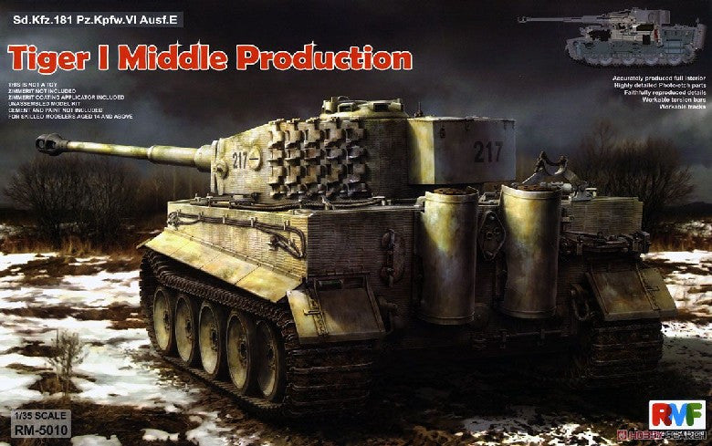 Rye Field 1/35 Tiger I PzKpfw VI Ausf E SdKfz 181 Middle Production Tank w/Full Interior Kit