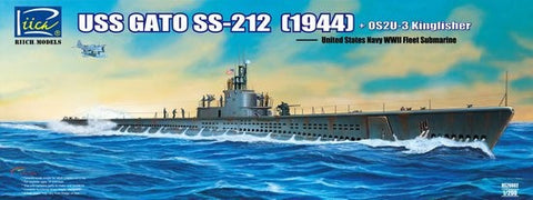 Riich Model Ships 1/200 WWII USS Gato SS212 Fleet Submarine 1944 w/OS2U3 Kingfisher Floatplane Kit
