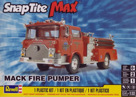 Revell-Monogram Model Cars 1/32 Mack Fire Engine Pumper Truck Snap Kit
