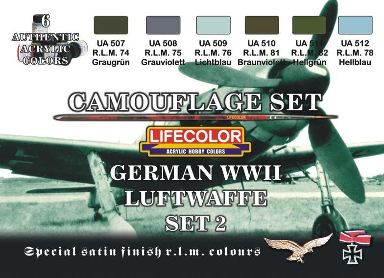 Lifecolor Acrylic German WWII Luftwaffe #2 Camouflage Acrylic Set (6 22ml Bottles)