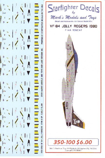 Starfighter Decals 1/350 F14A Tomcat VF84 Jolly Rogers 1980 for TSM