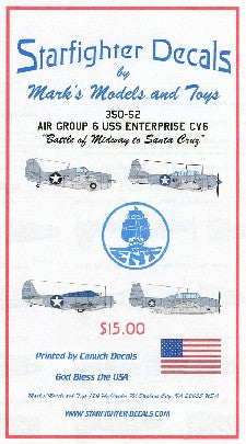 Starfighter Decals 1/350 Air Group 6 USS Enterprise CV6 Battle of Midway to Santa Cruz for Merit