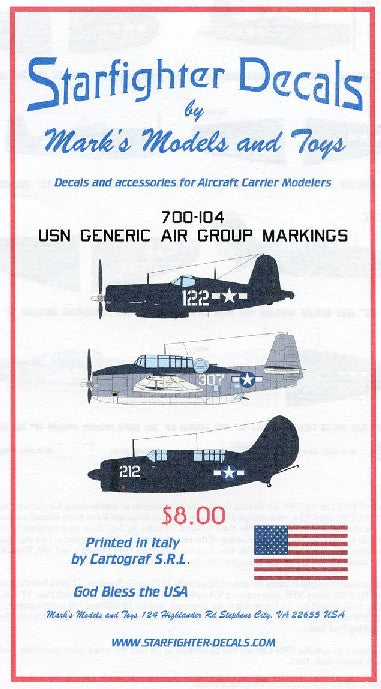 Starfighter Decals 1/700 USN Generic Air Group Markings 1944-45