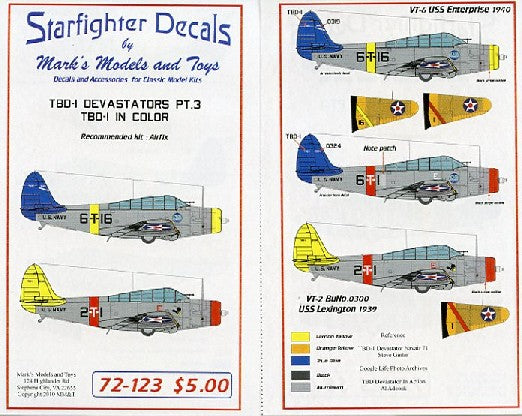 Starfighter Decals 1/72 TBD1 in Color Pt.3 for ARX