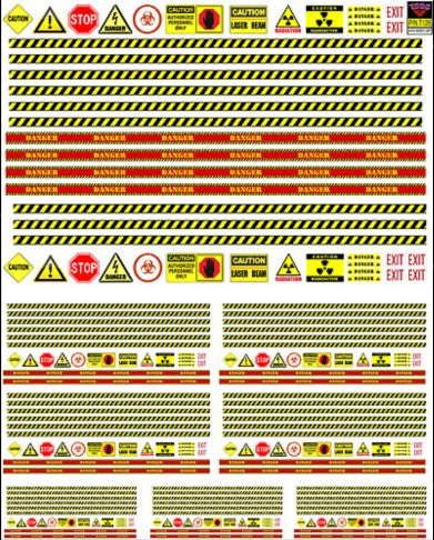 TSDS Decals Generic Diorama Decal Set: Various Warning Signs