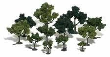 "Woodland Scenics Realistic Tree Kit Deciduous Light, Med & Dk Green 3/4"" - 3"" (36)"