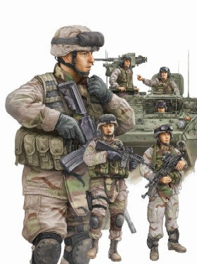 Trumpeter Military Models 1/35 Modern US Army Crewmen & Infantry Figure Set (6) Kit