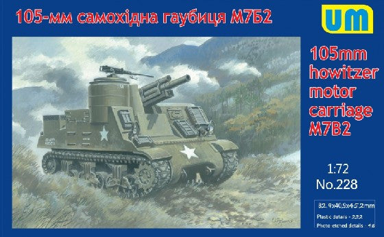 Unimodel Military 1/72 M7B2 105mm Howitzer Motor Carriage Tank Kit