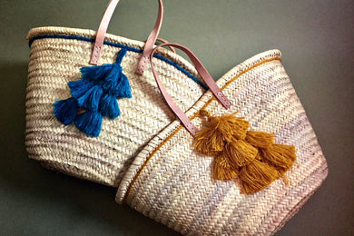 Shopping Baskets with Tassels & PomPoms