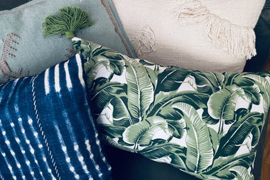 Decorative Throw Pillow - Banana Leaf Print