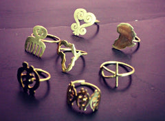 Bronze Rings: Adinkra Symbols (Made in Ghana)