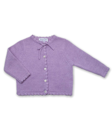 Cashmere Cardigan with Crochet Trim in Lavender