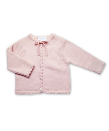 Cashmere Cardigan with Crochet Trim in Pink