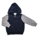 Cotton Colorblock Zip Hoodie in Navy/Silver