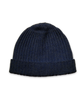 Cashmere Ribbed Hat in Navy