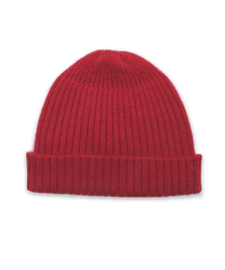 Cashmere Ribbed Hat in Red