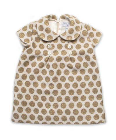 Dress with Pearl Buttons in Gold Dot