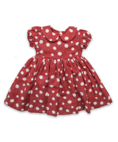 Cotton Rachel Dress in Red Snowflake