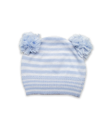 Double Pom Hat in Blue/White Stripe