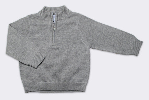 Boy's Luxury Cotton Half Zip Sweater in Silver