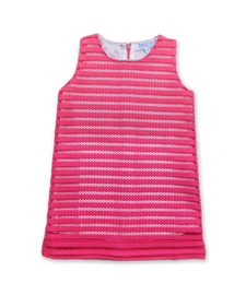 Naomi Dress in Neoprene Stripe Pink