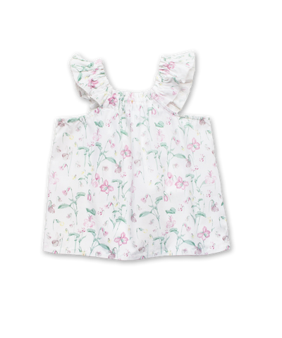 Peasant Top in Dainty Floral Pink