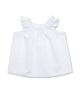 Ruffle Sleeve Peasant Top in White Jersey