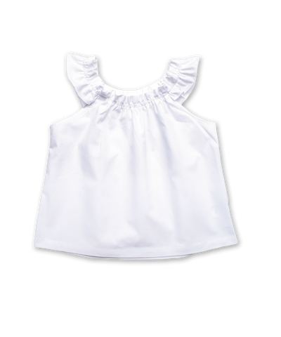 Ruffle Sleeve Peasant Top in White