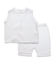Handknit Crochet Short Set in White