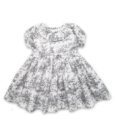 Dress with Ruffle Collar in Gray Toile