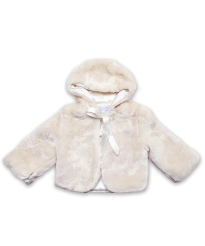 Baby Girl Faux Fur Coat in Creme