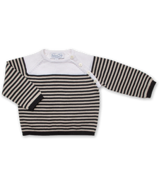 Nautical Stripe Sweater with Contrast in Navy-Moon-White