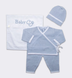 Kimono Wrap Layette Set in Blue/White