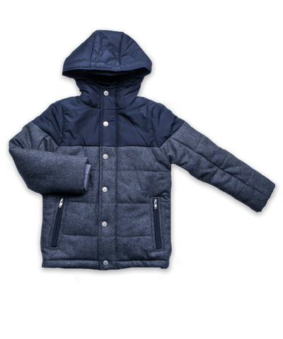 Colorblock Quilted Snow Jacket in Navy and Charcoal