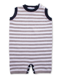Tipped Striped Jumper in Moon/White/Navy