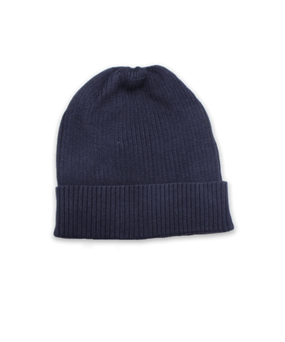 Cotton Ribbed Hat in Navy