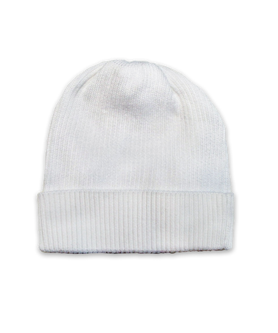 Cotton Ribbed Hat in White