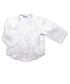 Boy's Mandarin Shirt in White Linen