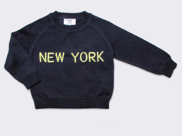 Luxury Cotton New York Sweater in Navy-Yellow