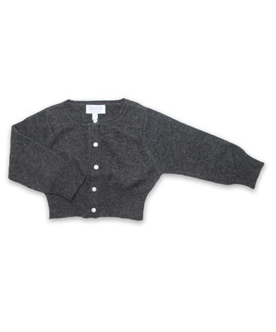Cropped Cashmere Cardigan in Derby Gray