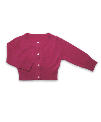 Cropped Cashmere Cardigan in Fuschia