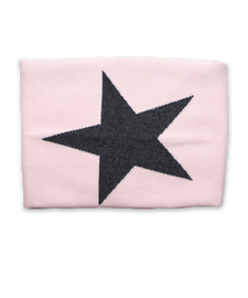 Cashmere Blanket with Star in Pink and Derby Gray