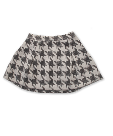 Two Pleat Skirt in Gray Crosshatch